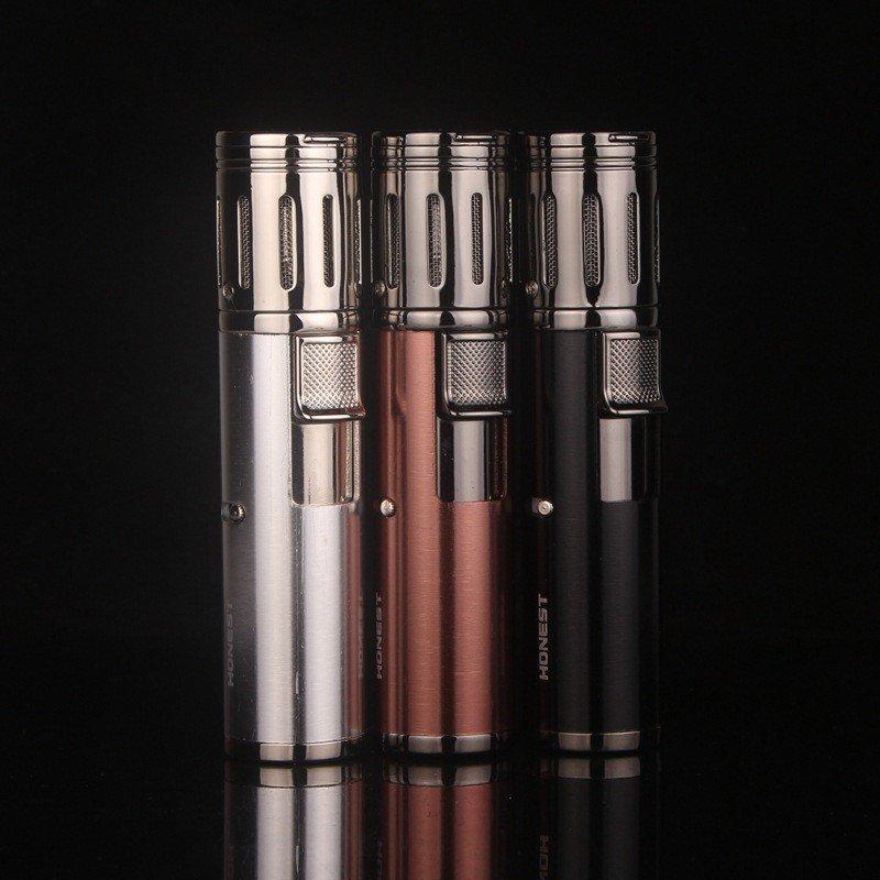 HONEST Torch gas lighter,4 Jet butane windproof lighter,cigarette case isqueiro anjo&torch