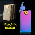 Zinc alloy two side ignite eco-friendly super thin windproof rechargable flameless electronic u