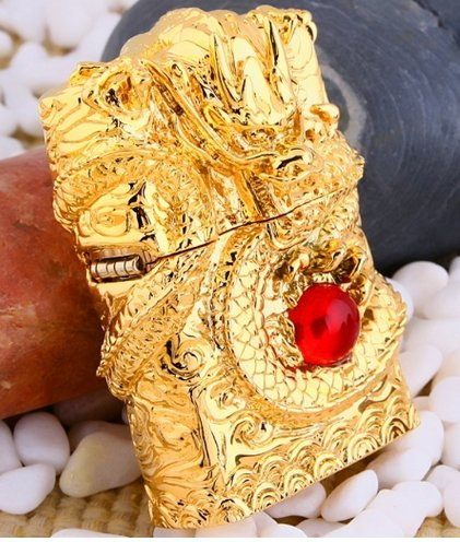 brand Authentic 3D Hand-carved lighters Handmade Spiral Gold dragons red pearl BC1461