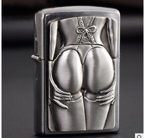 new kerosene lighter silver color drawing chapter Mysterious tattoo sexy ass woman  BC1471