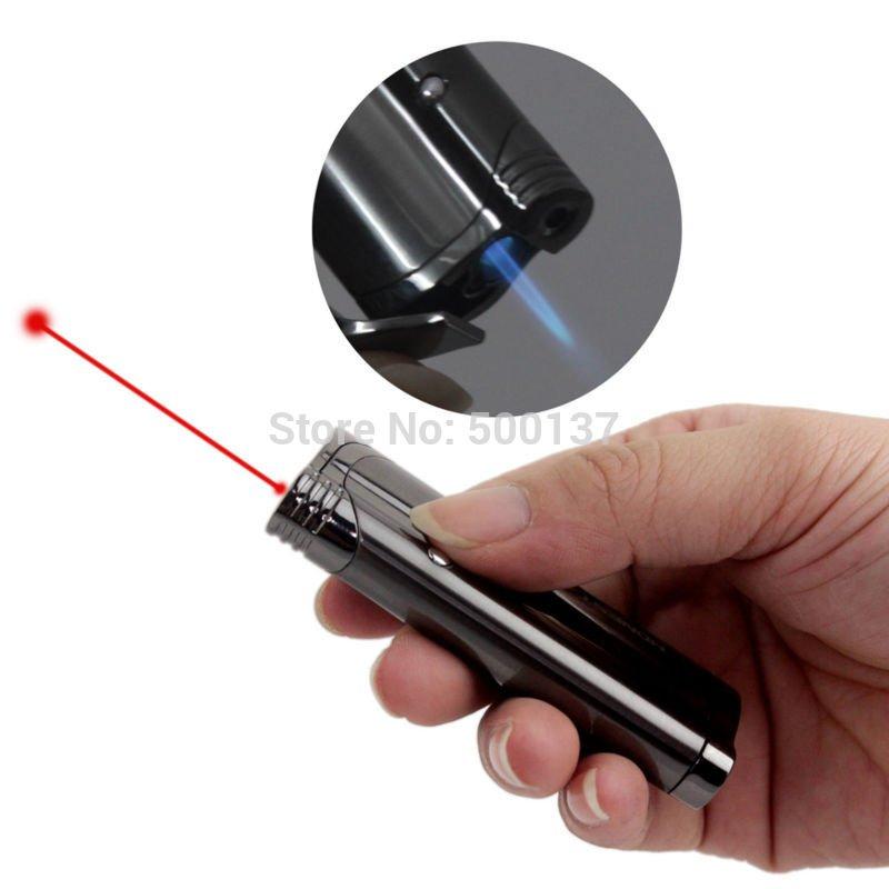 Electroplating Metal Jet Lighter Blue Flame Butane Gas Lighter Cigar Cigarette Lighter W/Red la