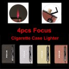 4 pcs Focus 2 in1 Automatic Ejection Cigarette Case With Butane Jet Torch Lighter BC1587