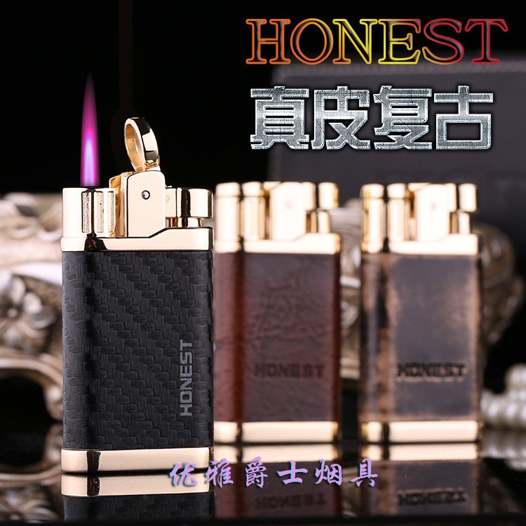 Personalized creative high-end leather color straightening inflatable wholesale lighter men&#3