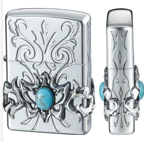 brand lighter  ZBT-5-6A silver flower double carving turquoise Authentic  BC1857