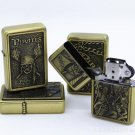 Retro bronze relief pirate legend kerosene lighters Skeleton Pocket Lighter BC1884