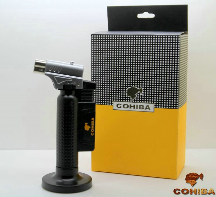 Original COHIBA Tool Pocket Size Gloss Yellow Metal  Shape Butane Gas Windproof 3 Torch single