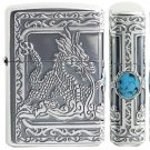 TMQ  lighter Authentic carving 3 sides surrounded double silver dragon with Gemstone blue Bead