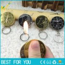 2pcs/lot Creative coin lighter butane gas lighter to wear gold keychain portable windproof LIGH