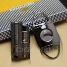 COHIBA Black Metal Cigar Cigarette 3 Torch Flame Lighter With Cigar Cutter Set BC2389