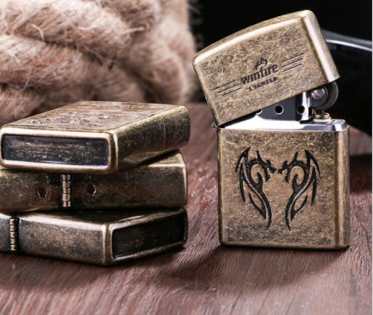Creative metal windproof lighter retro snowflake bronze embossed kerosene lighter BC2468