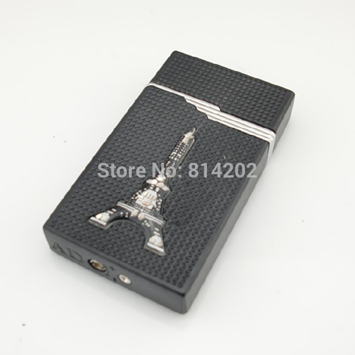 Metal Eiffel Tower Pattern Butane Lighter Jet Flame Gas Refillable Cigar Cigarette Lighter with