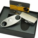 COHIBA Matt Silver Metal Jet Flame Cigar Cigarette Lighter W/ 3 Size  Punch Cutter Set BC2746