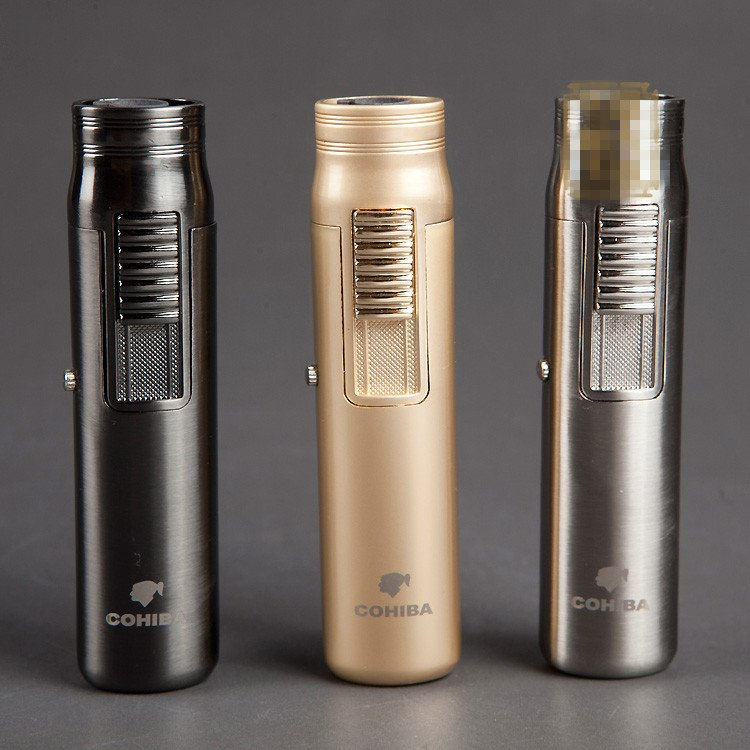COHIBA Luxury Portable Single Torch Jet Flame Air inflation Three Color Cigar Lighter W/ Cigar