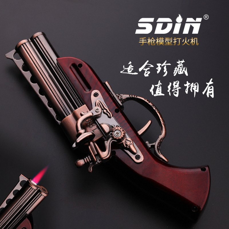 Creative collection of gas windproof desktop lighters toy pistol model lighters LI09 BC2954
