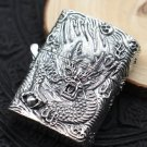 56*45mm  S925 sterling silver hand carved retro relief silver dragon men lighters BC2976