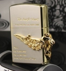 zpo lighter Stickers golden girl angel wings lighter  with box BC3112