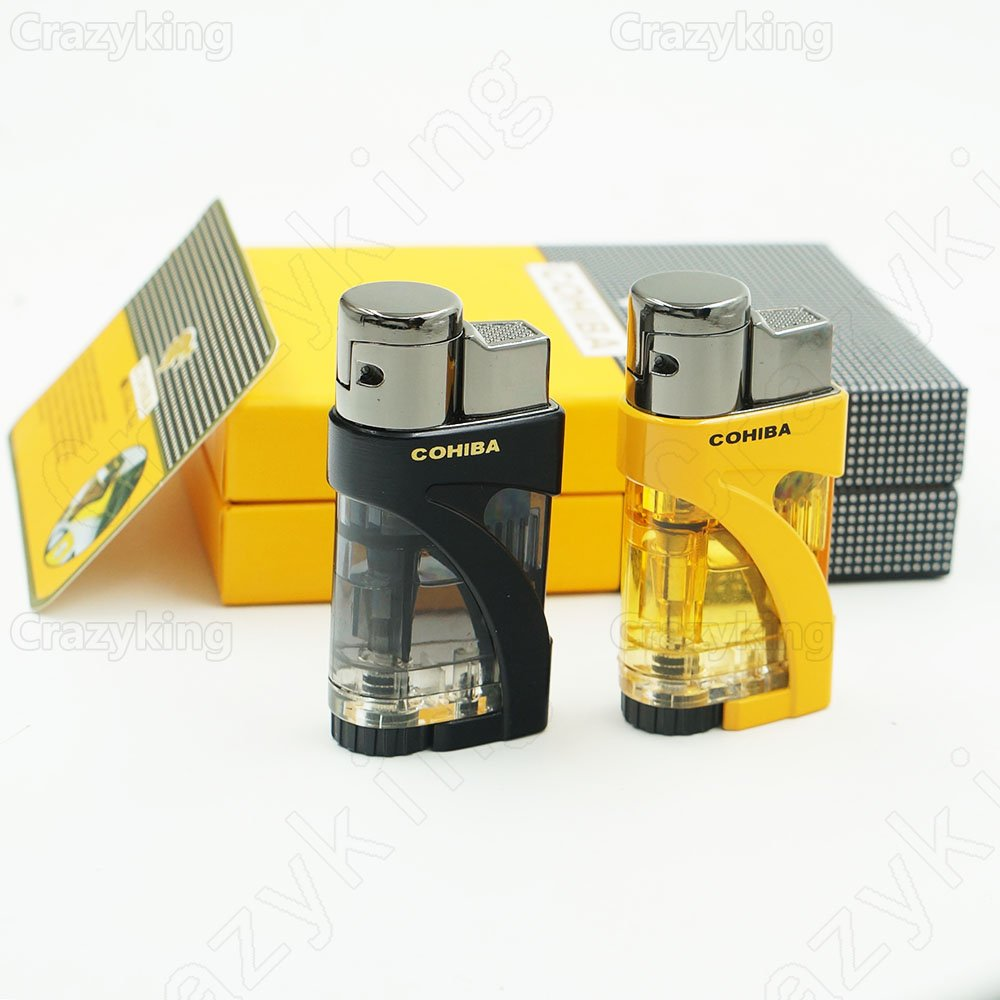 Cohiba  2 Torch Jet  Flame Pocket  Cigar Lighter Butane Gas Cigarette Lighters With  Gift Box B