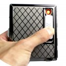 1 PCS Creative Stainless Steel Cigarette Case with Electronic Rechargeable Windproof Flameless
