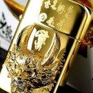 60*37*16mm new design Hand carved Retro Original punk kerosene gold  wolf head lighter  BC3361