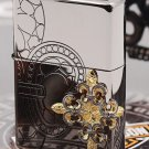 2 color  Genuine ZP 1937 engraved gold-plated side cross black ice Relief lighter  hollow flowe