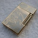 High-end Boutique Series Bright Sound Stripes carved 14K Gold PlatING Fire Lighter Men Cigarett
