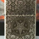 zpo brand lighter Five-sided carving  Ancient silver etched Satan  song BC3447