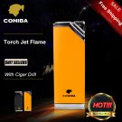 COHIBA Portable Square Yellow&Black Torch Jet Flame Air inflation Cigar Lighter With Cigar