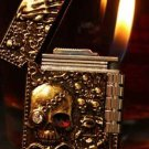 new  Old style  wheel gas  relief skull lighter 2 color  BC3620
