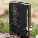 Free 1PC Windproof lighter black ice love angel wings oil+box  BC3647