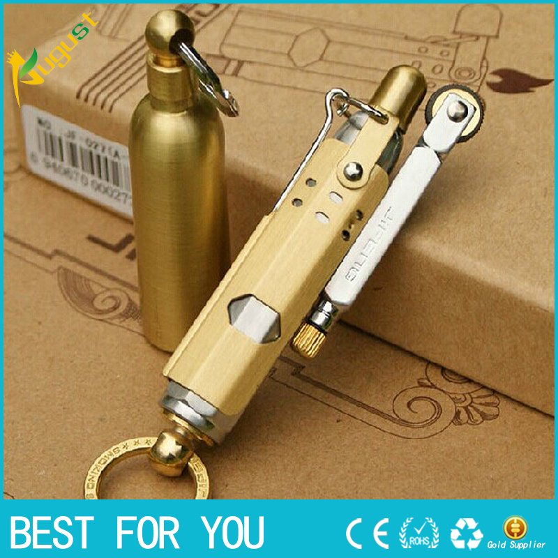 Retro copper/steel metall kerosene lighter with Oil bottle Vintage oil lighter grinding wheel,N
