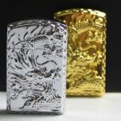 gas Metal gold silver dragon relief  wind inflatable lighter DK521 BC3714
