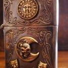 5.8*4cm  Sun Clown Skull Moon Handmade Good Vibrations  925 sterling silver mixed copper retro