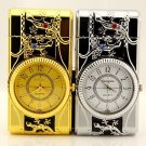 Carved  Relief gold silver luminous lights watch lighters  gas gecko crystal lighters BC3744
