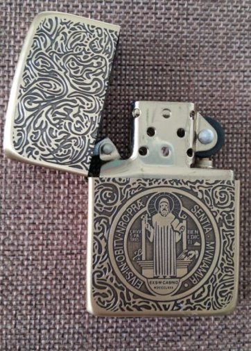 ZPObrand lighter  Five carvedengraved 1941constantine father with gold line with box  BC3772