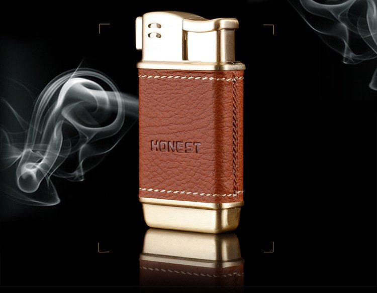 10pcs/lot  leather metal plasma lighter side fire design butane lighter encendedor gadgets for