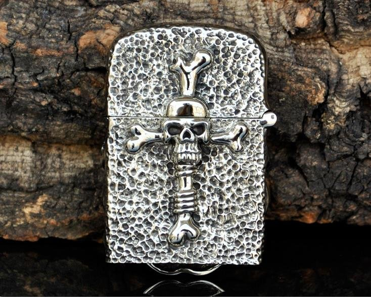 DIY   PureFive Manual lighters Tibetan silver ghost rider skull temple messenger cross  BC3854