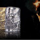 DIY   Pure Carving windproof lighter kerosene Pure copper heavy armor and name skeleton soul ch