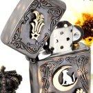 HG 5.9*3.7*1.6cm 925 sterling silver +bronze Moon kitten pop rain  Relief Hand-carved  lighter