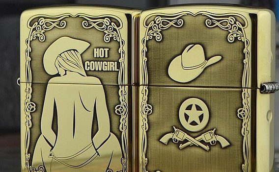 MJL wholesale Five - Face engraving sexy Cowgirl lighter brand Genuine copper gold liner  with