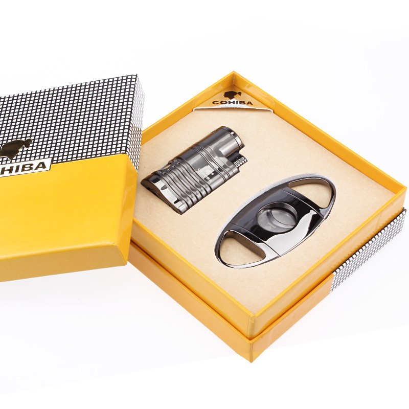 COHIBA 4 Torch Jet Flame Creative suit double openings Straight Cigar Lighter with Cigar Scisso