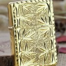 ZS wholesale Men brand Lighter  Genuine authentic lighters gold bamboo 2 Sided carving BC4226