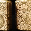 Brand lighter brass Shield Carved flower  Satan hymns  lighter overall Case cover TC4 War Armo