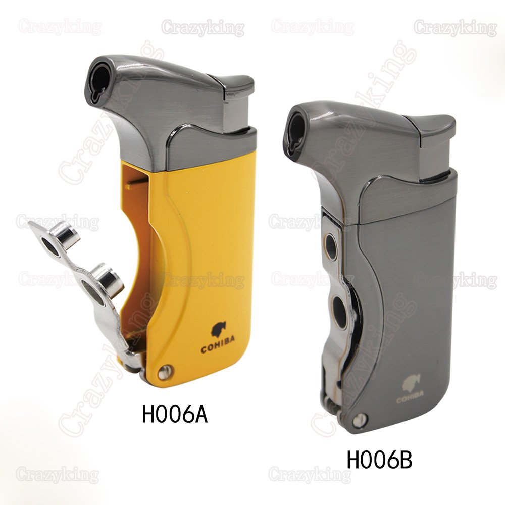 COHIBA  Fashion Metal 1 Torch JET FLAME CIGAR LIGHTER With 2 Pumch Cigarette Windproof Lighters