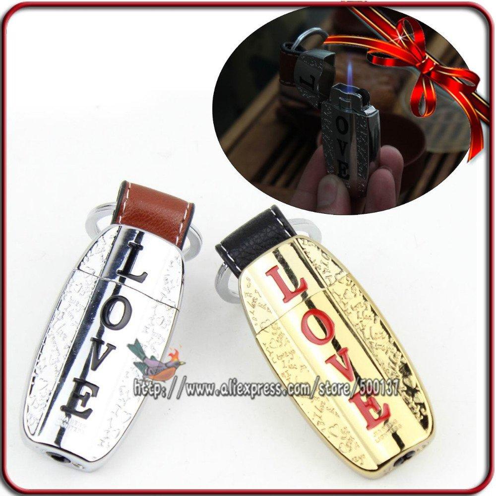 Lover Gift Novelty Portable Jet Flame Cigarette Butane Gas Keychain Lighter BC4422