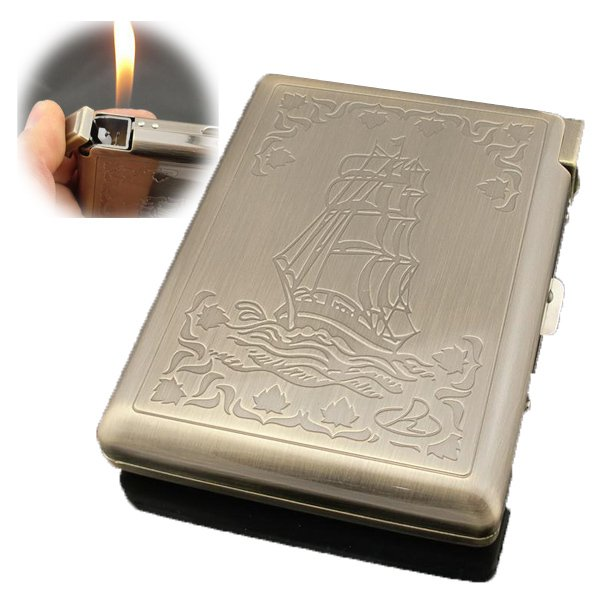 Bronze men's metal (20 cigarettes ) cigarettes case, brand Stainless steel cigarette box wi