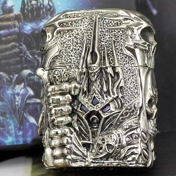 lighter Tibetan silver five surface engraving of the lich king kerosene lighter cigarette case