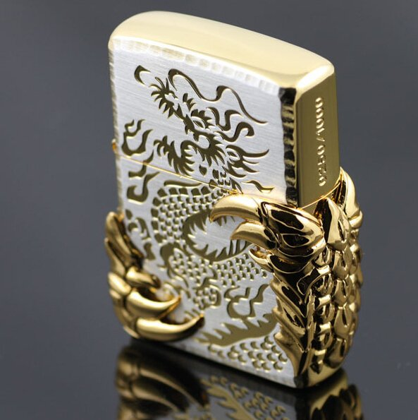 famous brand ultra-thin double-sided gold-plated black ice dragon China dragon wing lighter li