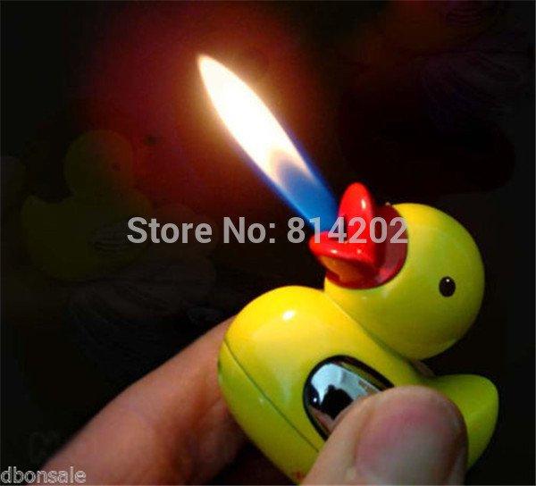 Mini Lovely Yellow Duck Shaped Refillable Butane Gas Cigar Cigarette Lighter BC4430