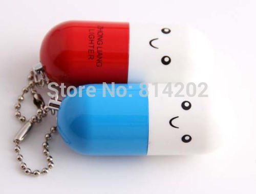 Lovely Mini Capsule Pills Style Refillable Butane Gas Lighter With Mini Pendant BC4432