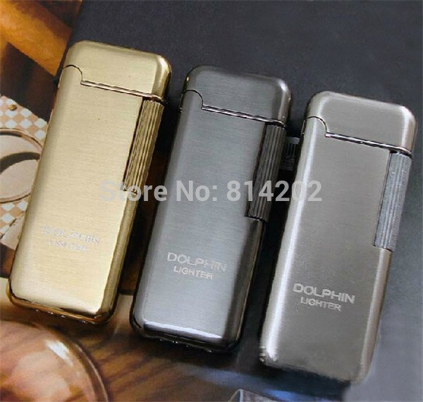 Dolphin Metal Plating Cigarette Lighter Flint Butane Gas Tobacco Lighter BC4442